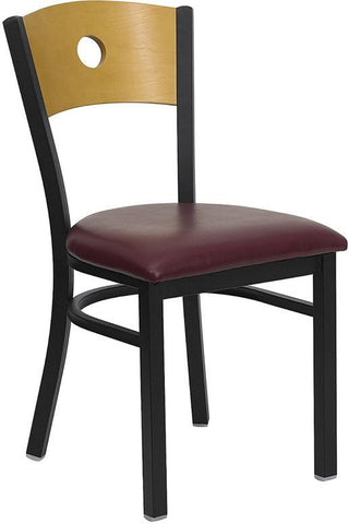 HERCULES SERIES BLACK CIRCLE BACK METAL RESTAURANT CHAIR WITH NATURAL WOOD BACK & BURGUNDY VINYL SEAT