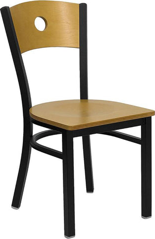 HERCULES SERIES BLACK CIRCLE BACK METAL RESTAURANT CHAIR WITH NATURAL WOOD BACK & SEAT