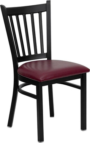 HERCULES SERIES BLACK VERTICAL BACK METAL RESTAURANT CHAIR WITH BURGUNDY VINYL SEAT