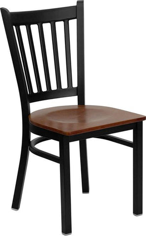 HERCULES SERIES BLACK VERTICAL BACK METAL RESTAURANT CHAIR WITH CHERRY WOOD SEAT