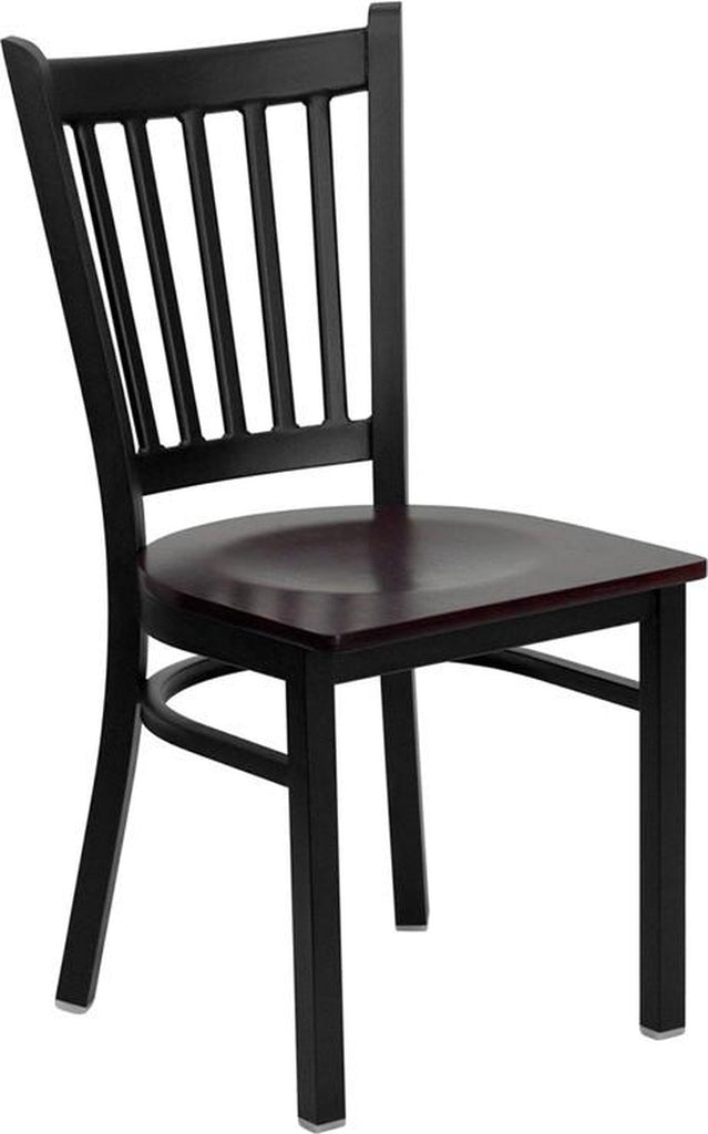 HERCULES SERIES BLACK VERTICAL BACK METAL RESTAURANT CHAIR WITH MAHOGANY WOOD SEAT