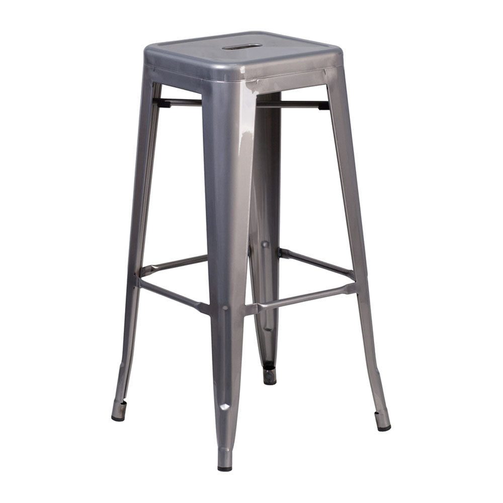 Flash Furniture High Backless Clear Coated Metal Indoor Barstool with Square Seat 30''