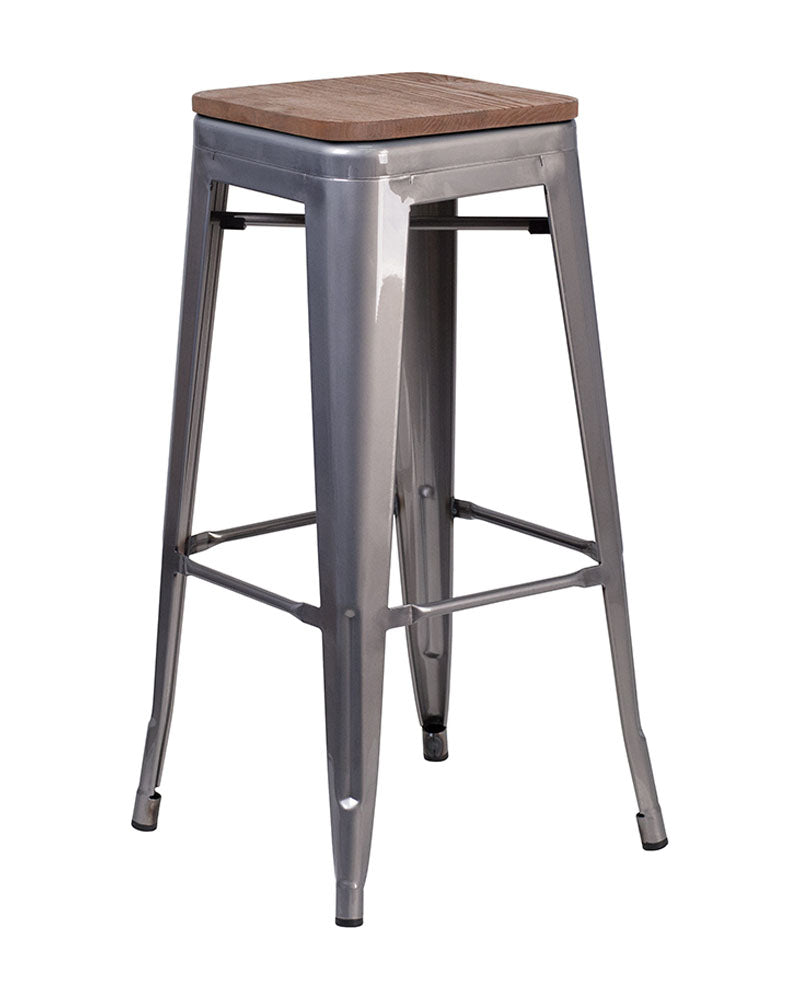 "Flash Furniture 30"" High Backless Clear Coated Metal Barstool with Square Wood Seat"