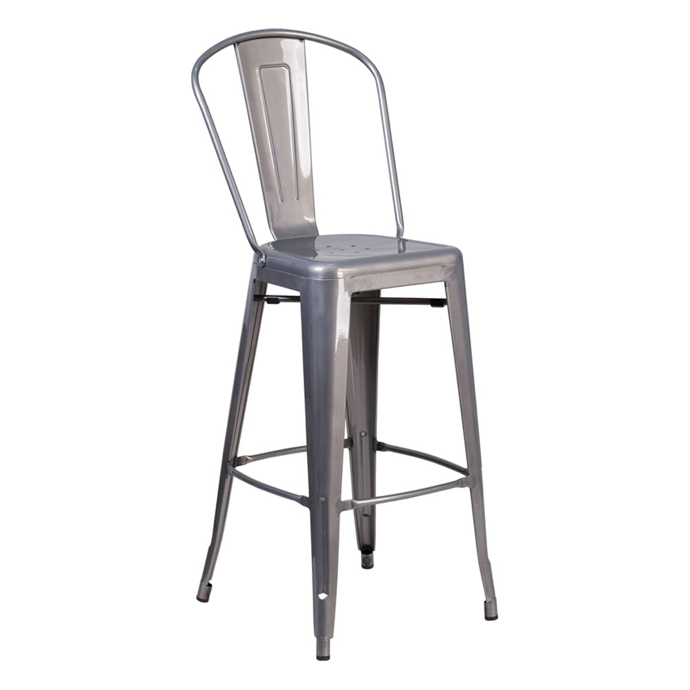 Flash Furniture High Clear Coated Indoor Counter Height Stool with Back 30''