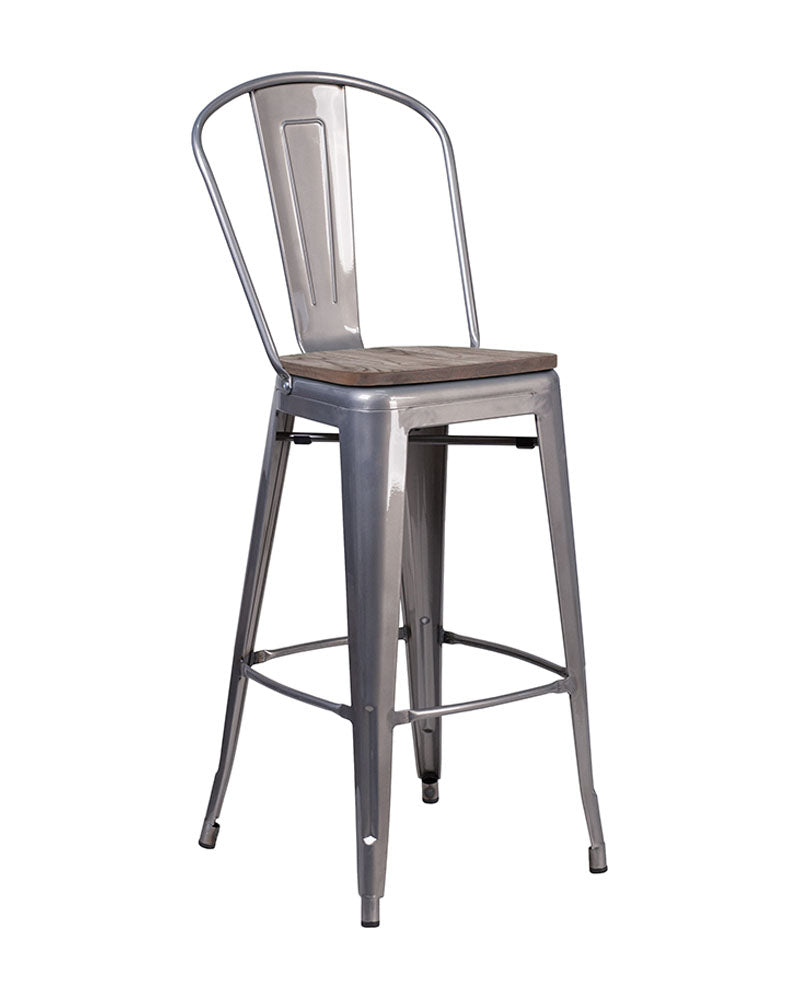 "Flash Furniture XU-DG-TP001B-30-WD-GG 30"" High Clear Coated Barstool with Back and Wood Seat"