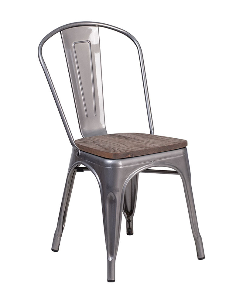 Flash Furniture XU-DG-TP001-WD-GG Clear Coated Metal Stackable Chair with Wood Seat