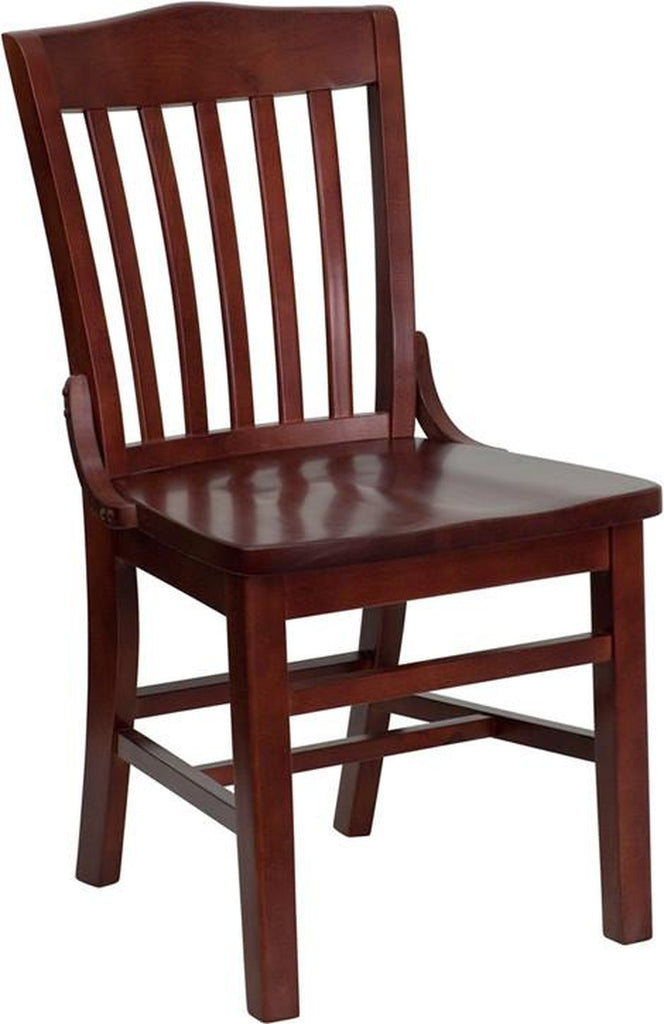 HERCULES SERIES SCHOOL HOUSE BACK WOODEN RESTAURANT CHAIR MAHOGANY FINISH