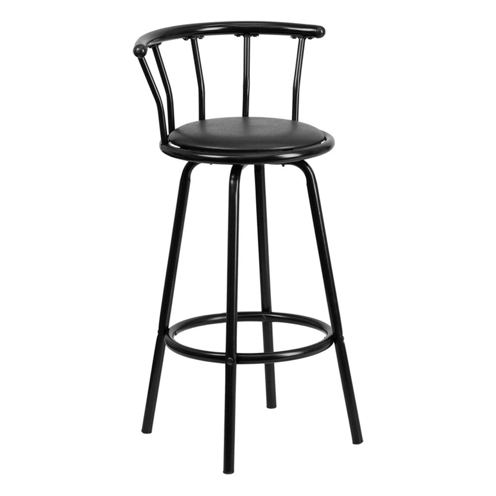 CROWN BACK BLACK METAL BAR STOOL WITH BLACK VINYL SWIVEL SEAT