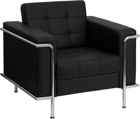 HERCULES LESLEY SERIES CONTEMPORARY BLACK LEATHER CHAIR WITH ENCASING FRAME