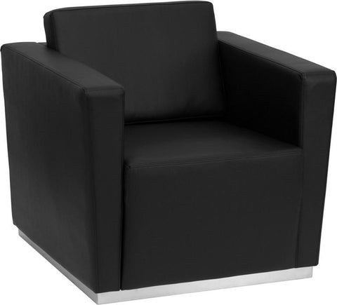 HERCULES TRINITY SERIES CONTEMPORARY BLACK LEATHER CHAIR WITH STAINLESS STEEL BASE