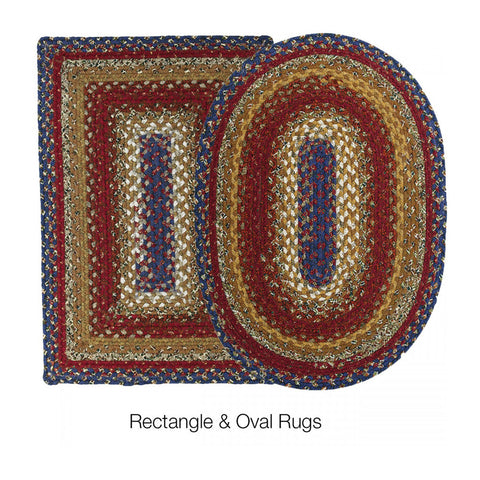 COTTON BRAIDED RUG OVAL LOG CABIN 4' x 6'