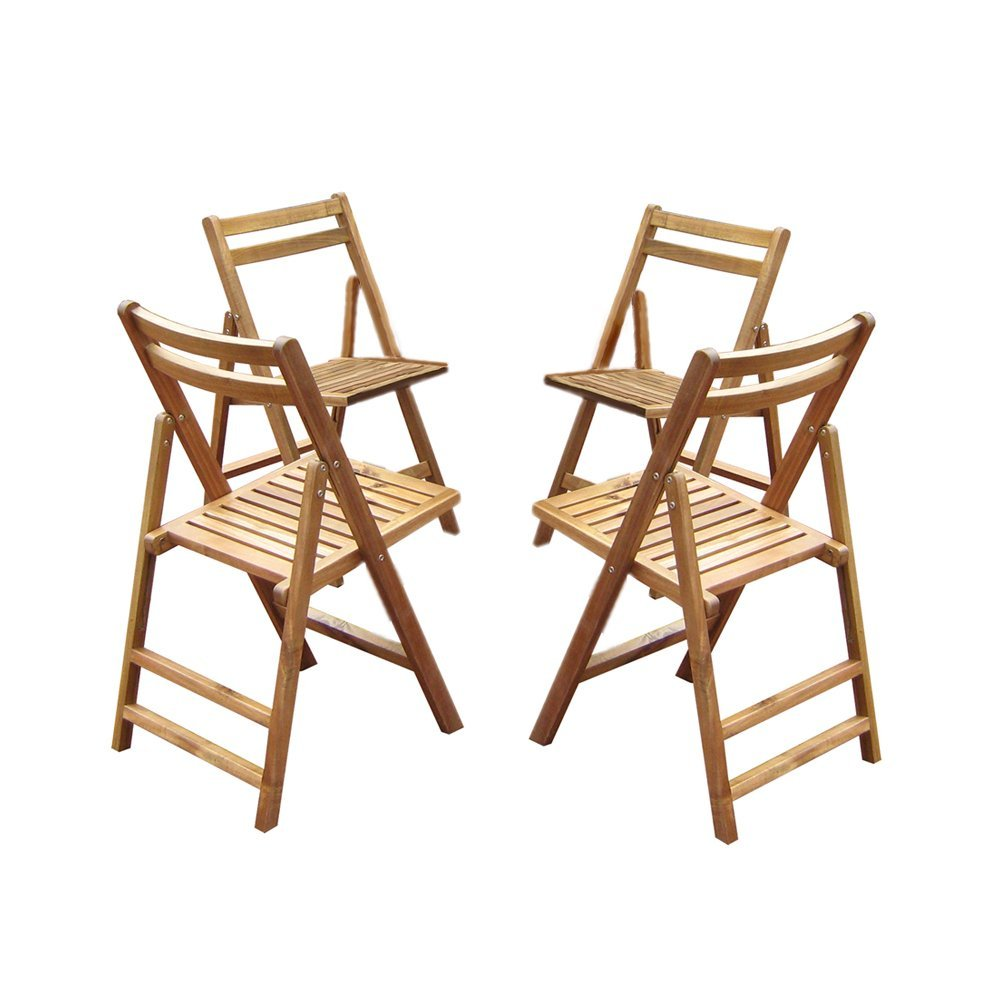 Merry Products Outdoor Patio Acacia Hardwood Folding Dining Chairs - Set of 4