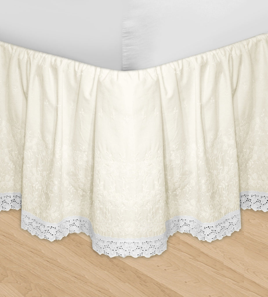 Huys Embroidery Bed Skirt Dust Ruffle - Queen Ivory
