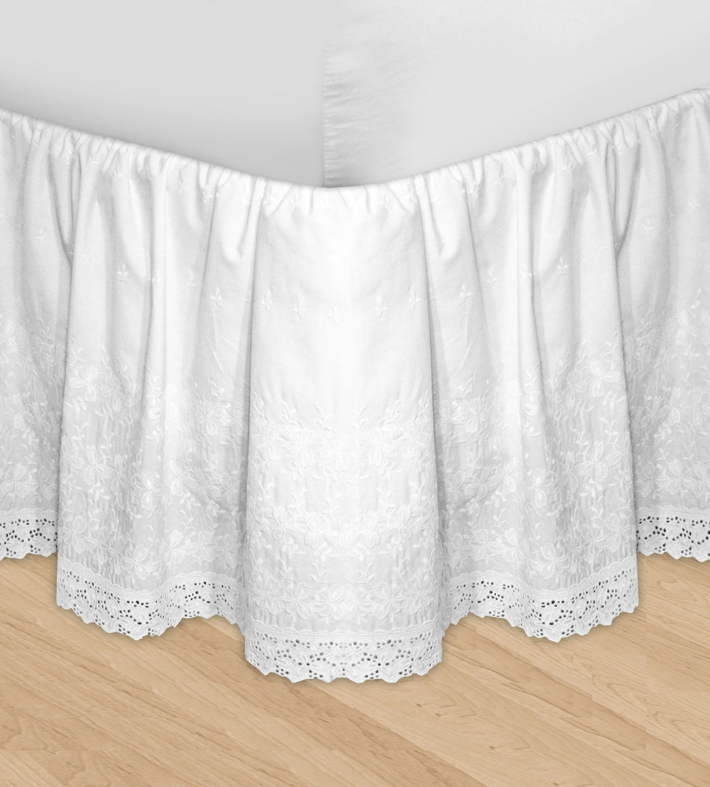 Huys Embroidery Bed Skirt Dust Ruffle Queen White Qolture