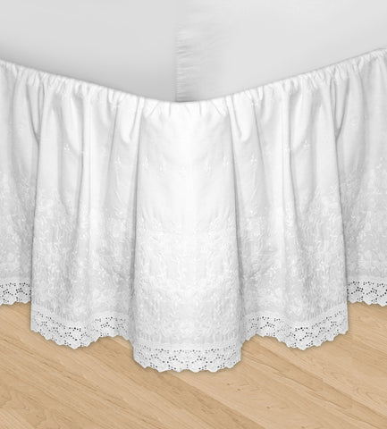 Huys Embroidery Bed Skirt Dust Ruffle - Queen White