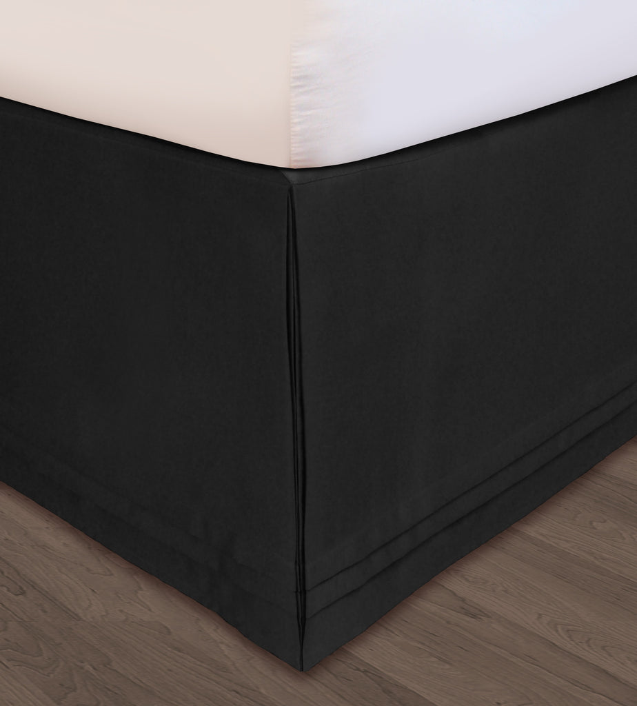 Huys-Matte Satin Huys Bed Ruffle C.King Black