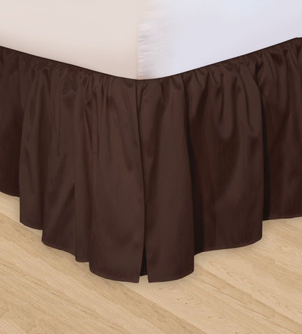 Huys Ruffled Faux Silk Bed Skirt - C King Chocolate