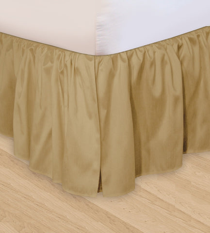Huys Ruffled Faux Silk Bed Skirt - C King Taupe