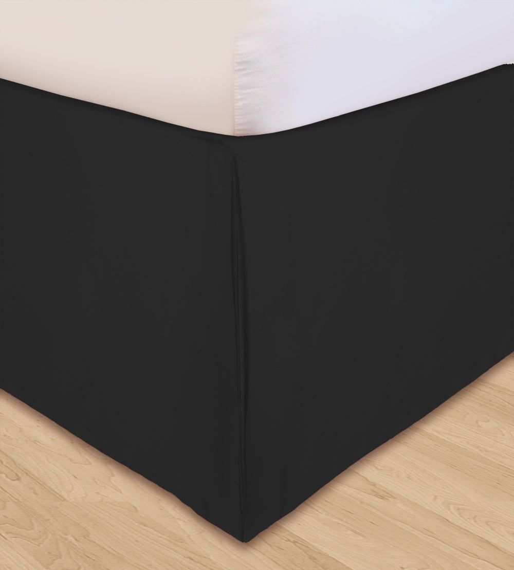 Huys Solid Microfiber Bed Skirt Queen Black Qolture