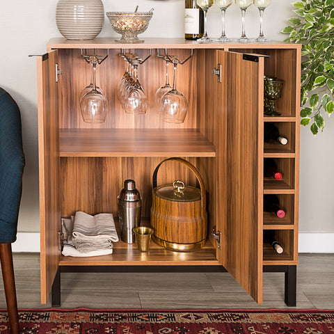 WE Furniture Modern Design Durable Bar Cabinet with Wine Storage - Teak