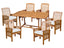 WE Furniture Patio Outdoor Acacia Dining Set with Cushions, Brown - 7 Pieces