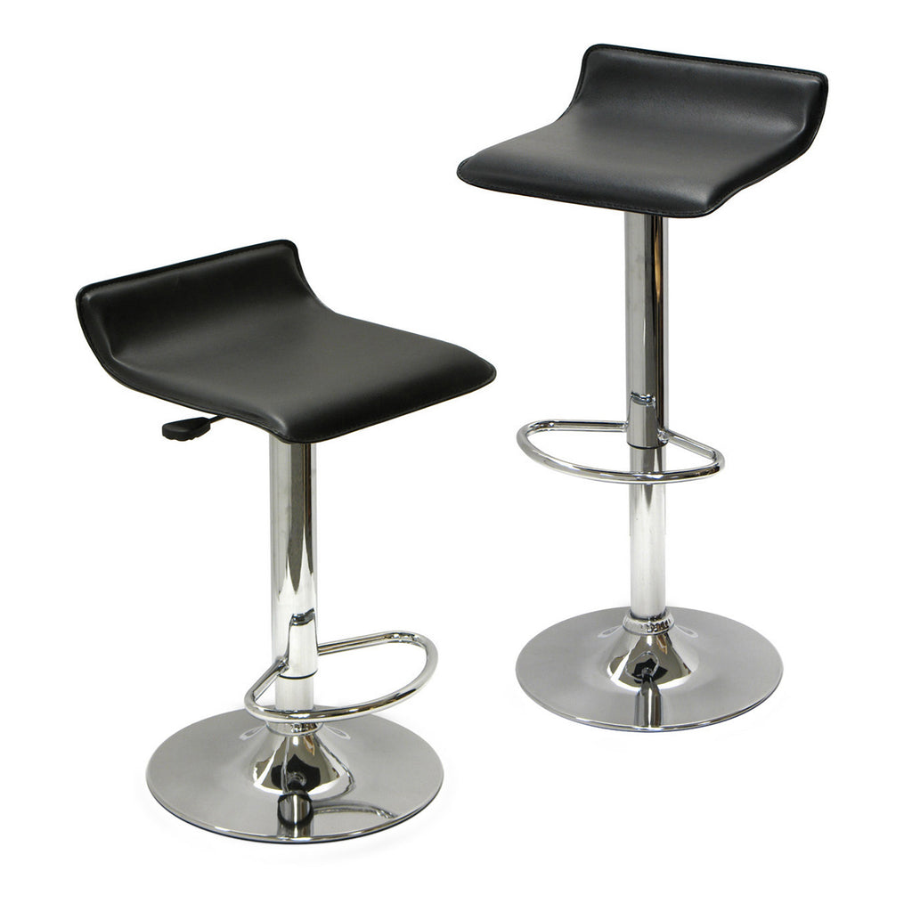 Spectrum Set of 2, Adjustable Air Lift Stool, Black Faux Leather, RTA