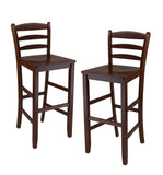 "Benjamin 2-PC Ladder Back 30"" Bar Stool Set Antique Walnut"