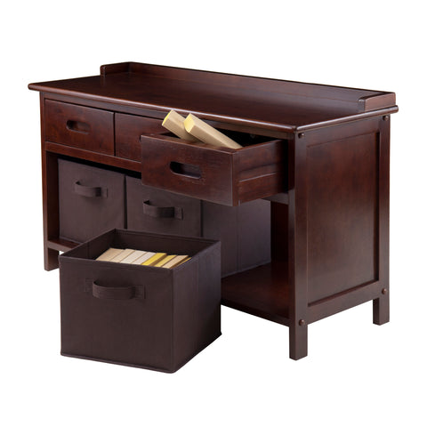 Adriana 4-Pc Storage Bench Set with 3 Foldable Chocolate Fabric Baskets