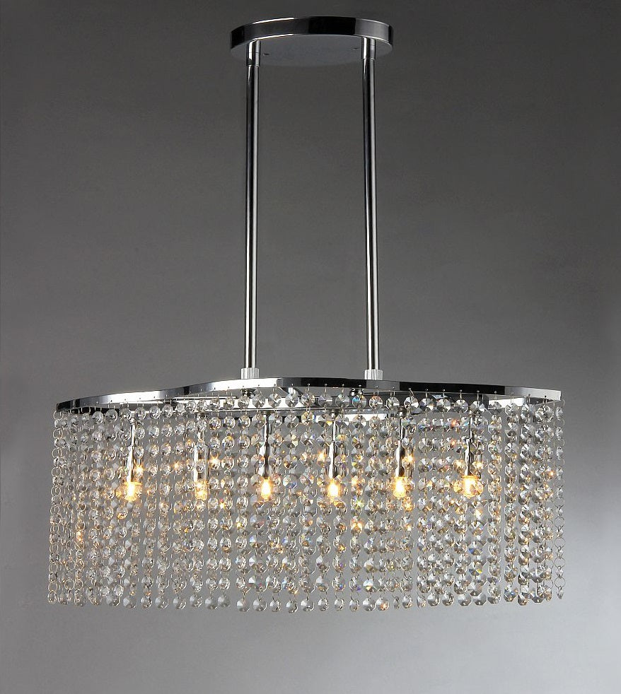 Tee Crystal 6-light Chrome Chandelier