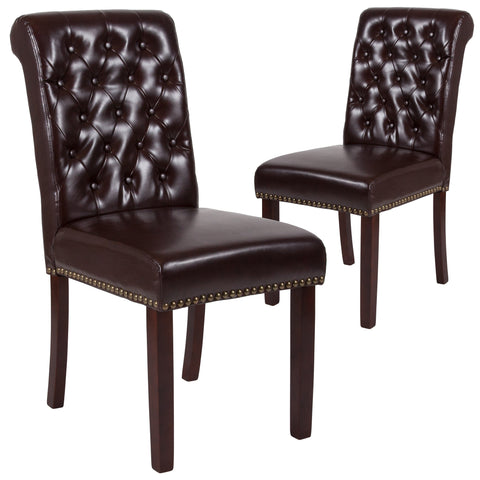 2 Pk. HERCULES Series Parsons Chair with Rolled Back, Nail Head Trim