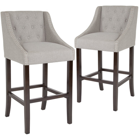 "2 Pk. Carmel Series 30"""" High Transitional Tufted Walnut Barstool with Accent Nail Trim"