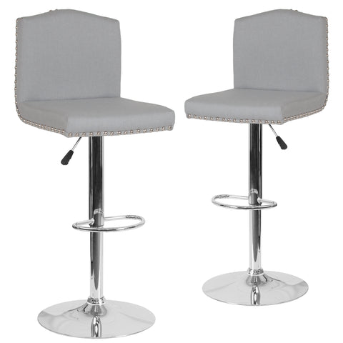 2 Pk. Bellagio Contemporary Adjustable Height Barstool with Accent Nail Trim