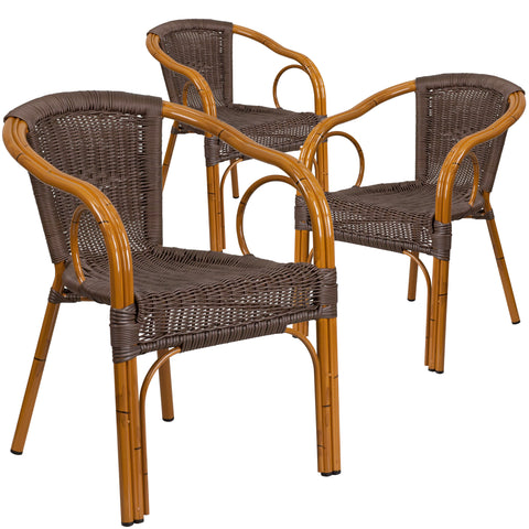 3 Pk. Cadiz Series Rattan Restaurant Patio Chair with Bamboo-Aluminum Frame