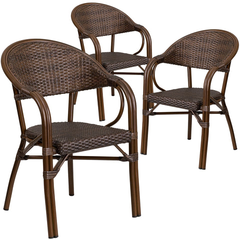 3 Pk. Milano Series Rattan Restaurant Patio Chair with Bamboo-Aluminum Frame