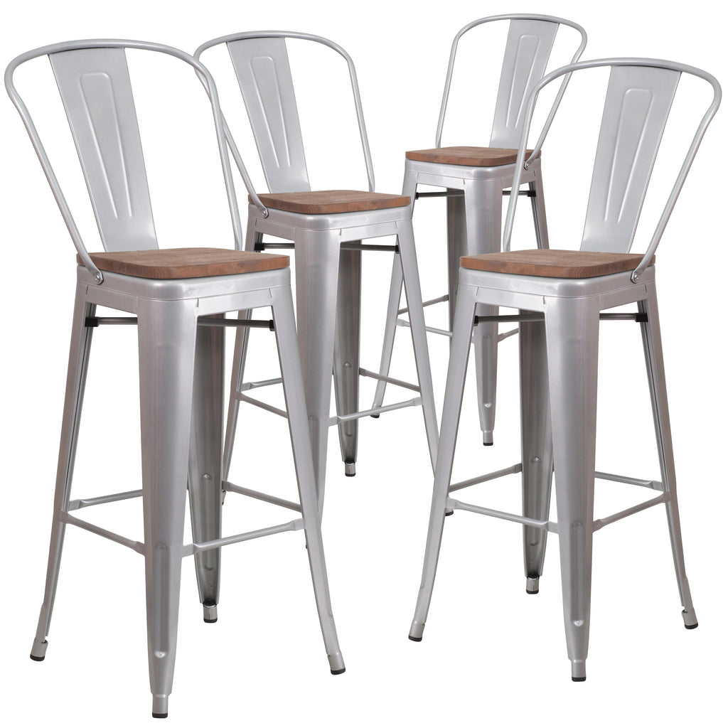 "4 Pk. 30"""" High Metal Barstool with Back and Wood Seat"