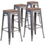 "4 Pk. 30"""" High Backless Metal Barstool with Square Wood Seat"