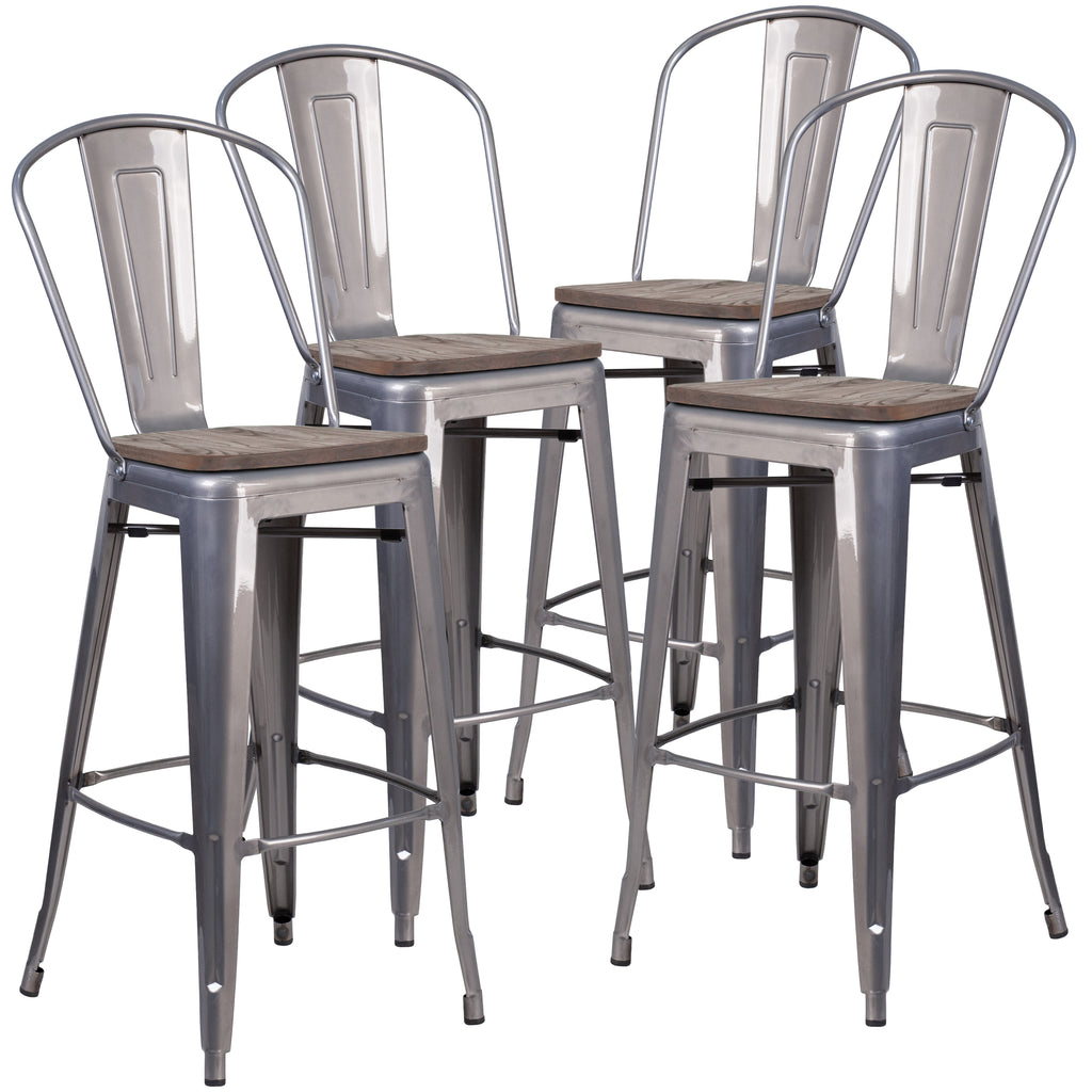"4 Pk. 30"""" High Barstool with Back and Wood Seat"