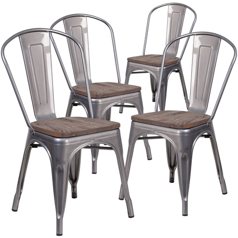 4 Pk. Metal Stackable Chair with Wood Seat