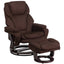 Contemporary Recliner and Ottoman with Swiveling Wood Base