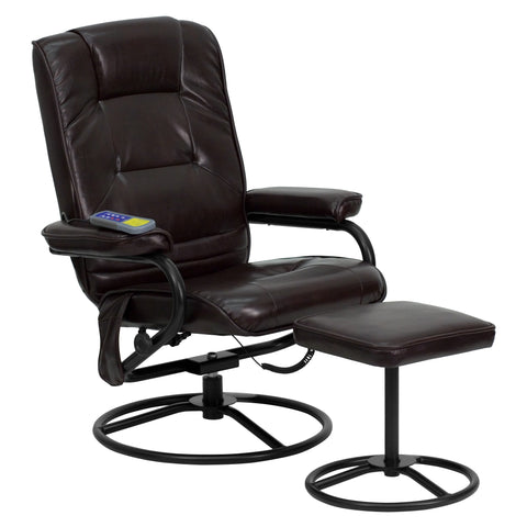 Massaging Leather Recliner and Ottoman with Metal Bases
