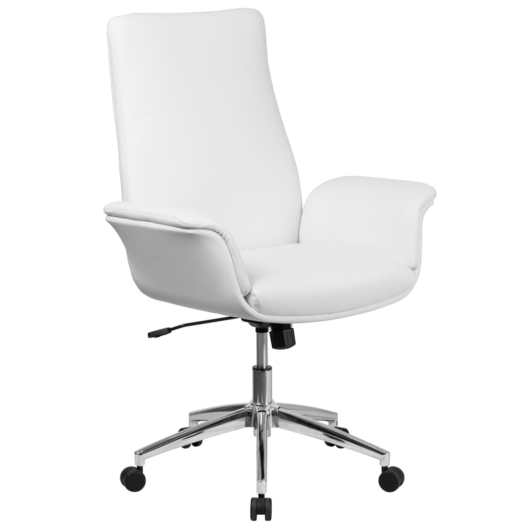 Mid-Back Leather Executive Executive Swivel Chair with Flared Arms