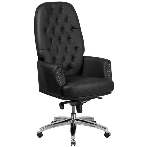 High Back Traditional Tufted Leather Multifunction Executive Swivel Chair with Arms