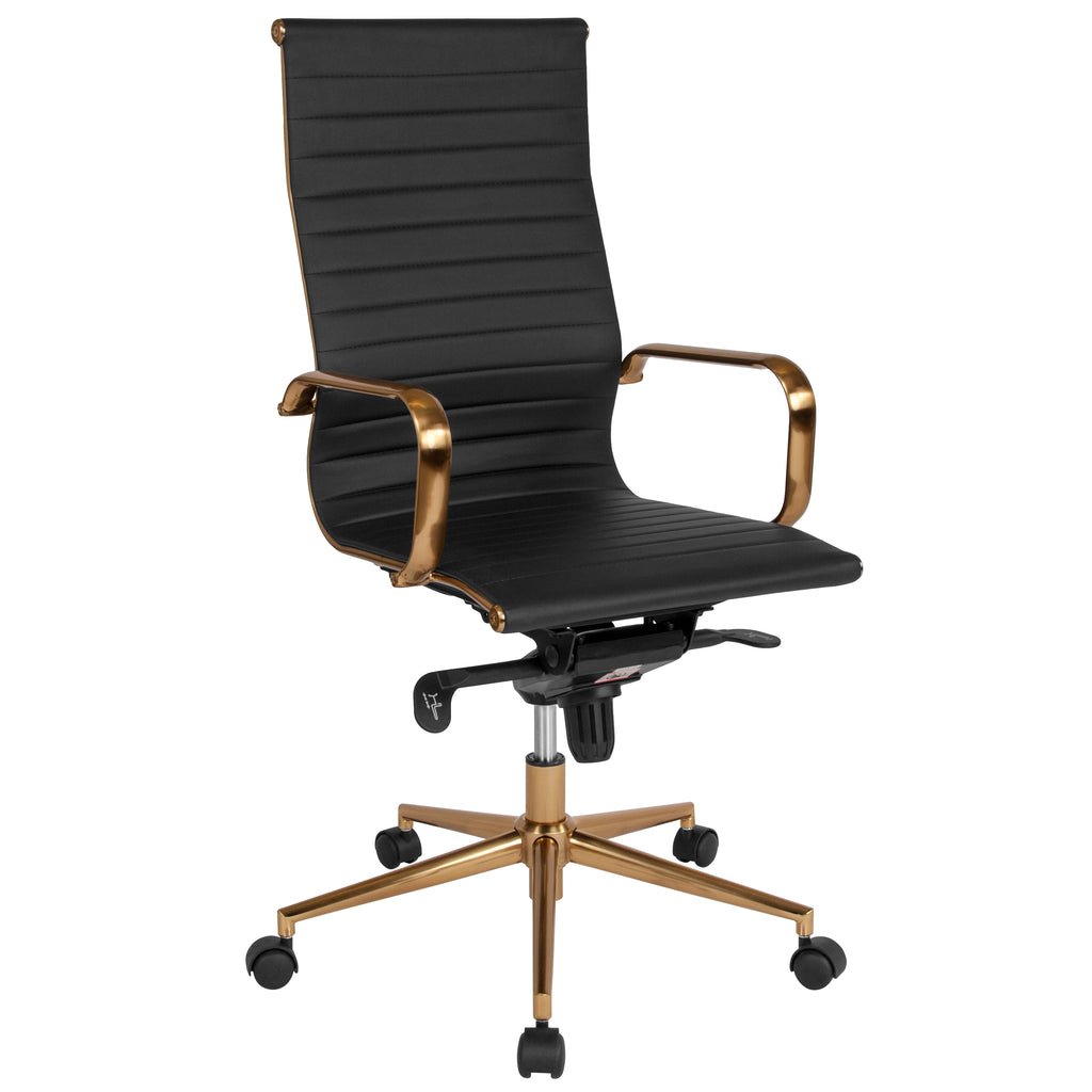 High Back Ribbed Leather Executive Swivel Chair with Knee-Tilt Control and Arms
