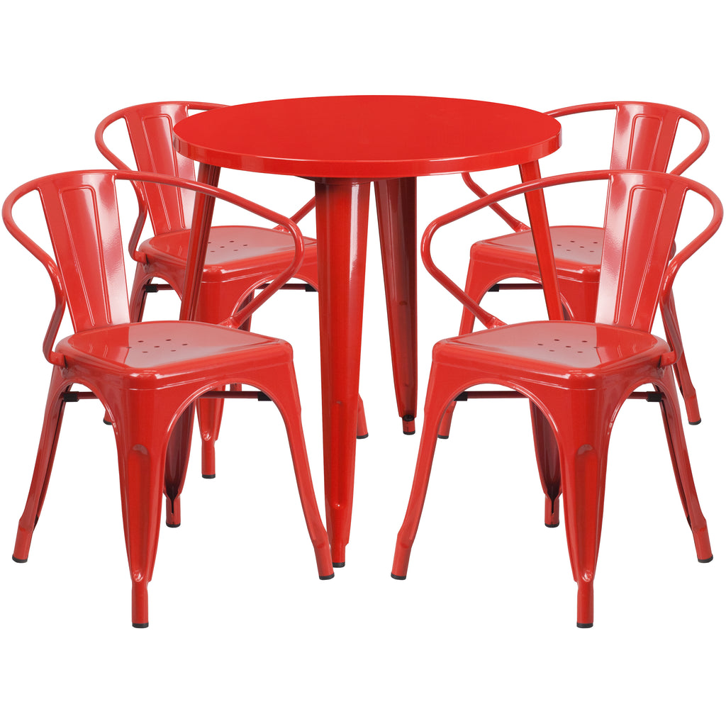 30'' Round Metal Indoor-Outdoor Table Set with 4 Arm Chairs