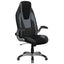 High Back Vinyl Executive Swivel Office Chair with Mesh Insets and Flip-Up Arms