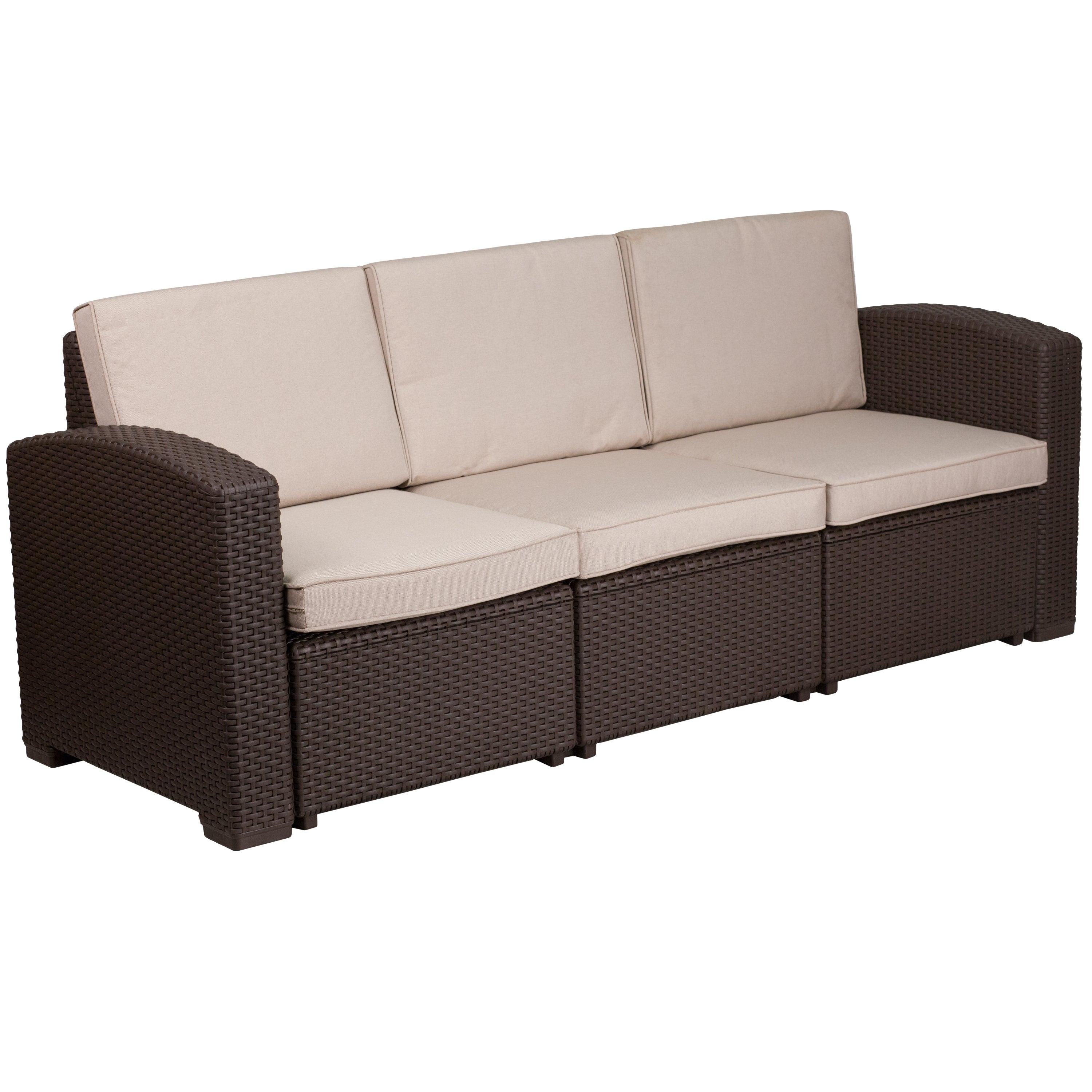 Faux Rattan Sofa With All Weather Cushions Qolture