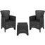 Faux Rattan Plastic Chair Set with Matching Side Table