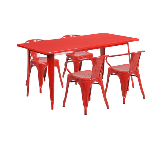 31.5'' x 63'' Rectangular Metal Indoor-Outdoor Table Set with 4 Arm Chairs
