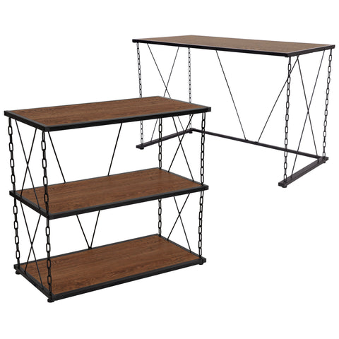 Vernon Hills Collection Wood Grain Finish Computer Desk and Two Shelf Bookshelf with Chain Accent Metal Frame