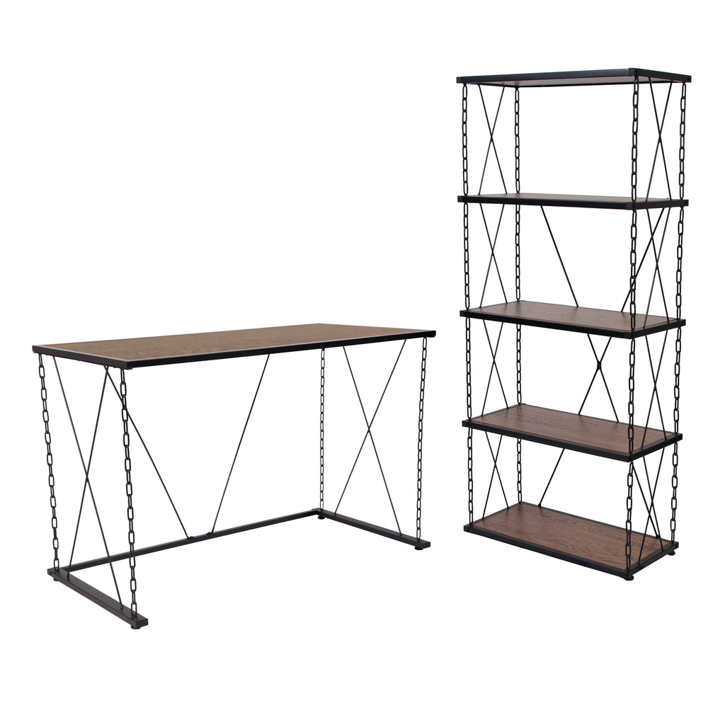 Vernon Hills Collection Wood Grain Finish Computer Desk and Four Shelf Bookshelf with Chain Accent Metal Frame